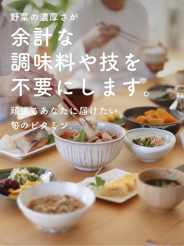 野菜の濃厚さが余計な調味料や技を不要にします